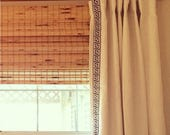 Custom Lined Linen Drapes with Trim