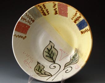 Serving Bowl with Leaf Motif, Handmade Clay Bowl, Fine Art Ceramics, Bowls