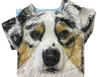 Australian Shepherd Dog CERAMIC Portrait Sculpture 3D Dog Art Tile Plaque FUNCTIONAL ART by Sondra Alexander In Stock