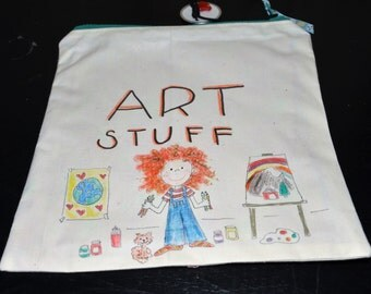 ART STUFF - Zippered Case Hand drawn bag for art supplies