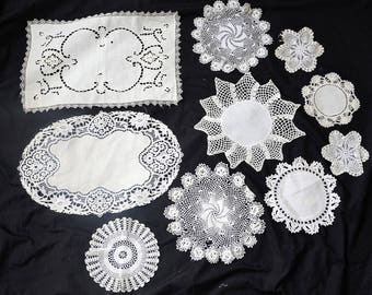 Vintage lot of Old Lacy Handmade Doilies