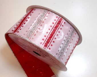 Christmas Ribbon, Glitter Wired Fabric Ribbon 2 1/2 inches wide x 10 yards, Full Bolt of Lion Brand MC Party Ribbon