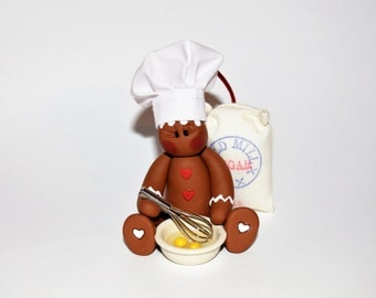Baking Gingerbread Man Polymer Clay Christmas Ornament
