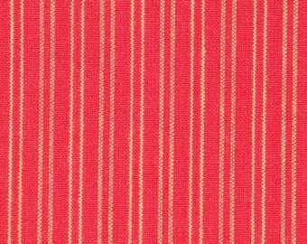 Red And Tan Stripe Ticking Fabric   Homespun Ticking Fabric   Home Decor Ticking Fabric   Cotton Ticking Fabric