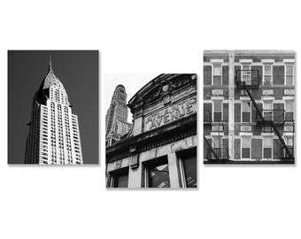 New York City Photos, set of 3, NYC, black and white,architecture,urban photography, Brooklyn, Manhattan, New York photos, Chrysler building