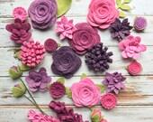 Purple Wool Felt Fabric Flowers - Vineyard Felt Flowers - Large Posies - 25 Flowers & 24 leaves - Create Headbands, DIY Wreaths