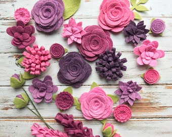 Purple Wool Felt Fabric Flowers - Vineyard Felt Flowers - Large Posies - 25 Flowers & 24 leaves - Create Headbands, DIY Wreaths