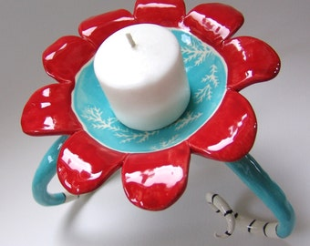 whimsical Red & Turquoise pottery candleholder for your Dr Seuss decor :) soap dish, Ceramic Art dish, candy