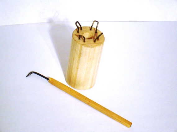 Knitting Hook Tool : Knitting spool and loom hook set peg knitter