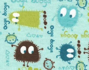 Turquoise (Aqua) n BROWN Ooga Booga, Cotton Interlock Knit Fabric, FQ