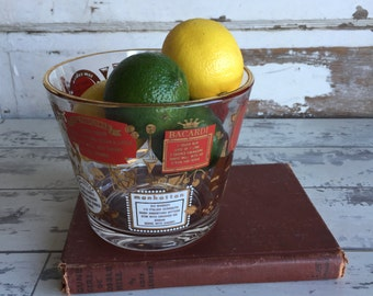 Vintage Ice Bucket Recipe Mad Men Bartender Glass Gold and Red