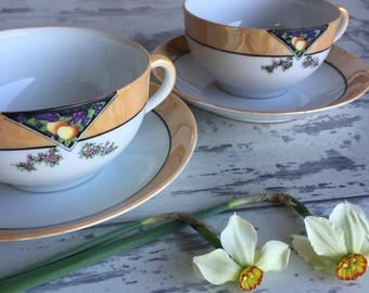 Vintage TeaCup and Saucers - 1940s Peach luster Noritake Porcelain