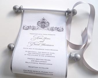 Elegant Black And White Wedding Invitation Scroll, Canvas Fabric Scroll,  Antique Damask, SAMPLE