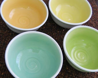 Handmade Soup or Cereal Bowls - Set of 4 Pottery Bowls Stoneware Ceramic Spring