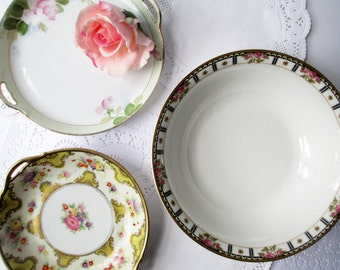 Vintage Mismatched China Serving Set Bowl and Plates Set of Three - Nippon