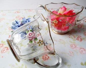 Vintage Floral Cream and Sugar Set - Tea Parties