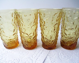 Vintage Tumblers Anchor Hocking Lido Amber Glass Set of Four
