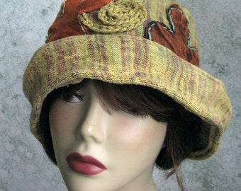 Womens Brimmed Hat Muted Gold and Green With Large Colorful Patch Work Flowers Chemo Hair Loss Cap Hat Teen Hat Head Sz 21- 23