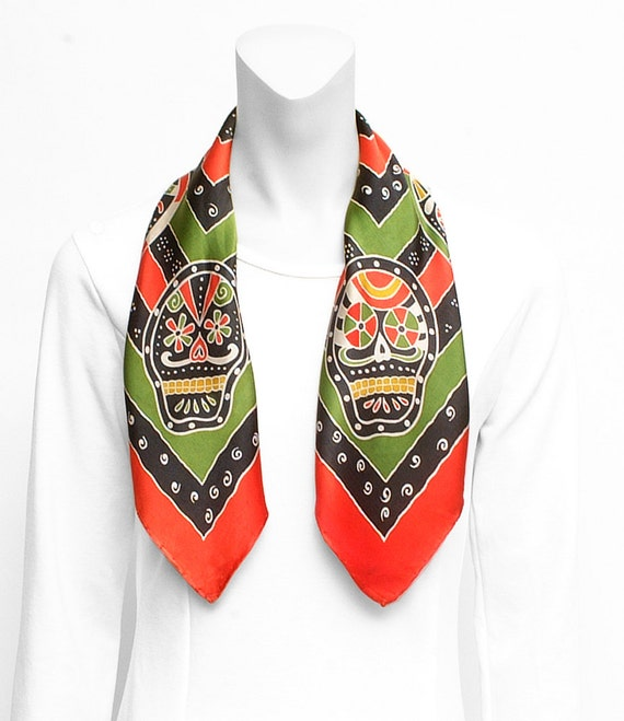 Silk Scarf Handpainted, skull Scarf, day of the dead scarf, Scarf hand made, gift for her, Silk neck scarf, silk square scarf, unique scarf