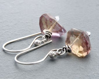 Rustic Ametrine Gemstone Earrings with Sterling Silver, Faceted Lavender and Yellow Gems, Wire Wrapped #4311