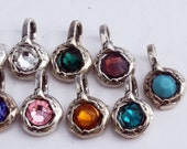 Birthstone Charms Sterling and Swarovski Crystals BS2