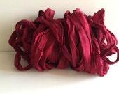 Silk Sari Ribbon, Cranberry Chiffon Sari Ribbon, 10 Yards