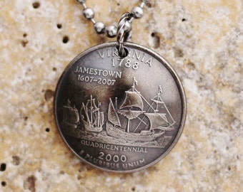 State Quarter Virginia Coin Necklace, 2000, Quarter Dollar Coin, Coin Pendant by Hendywood