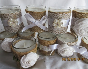 10 Favor Candles, Burlap and Lace, Rhinestones, Showers, Parties, Weddings,Unscented