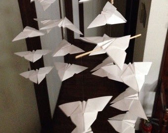 """22 Large Origami Butterflies Mobile - Pure White, 22 butterflies, 6"""" Solid Japanese Origami, Nursery Decor, Home Decor, Baby Mobile, Nursery"""