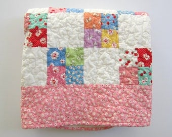 "Pink Baby Quilt,Baby Girl Nursery, 37""x37"", Patchwork Quilted Baby Blanket, Vintage Style Decor"