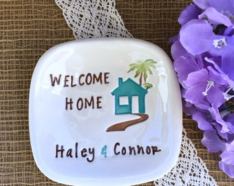 Personalized Housewarming Dish - Ceramic Trinket Tray for New Home Gift