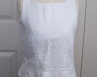 white linen top . peplum linen top . Kenar . white peplum linen top