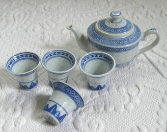 6 piece sake set . doll tea set . chinese tea set . child's tea set . blue ware tea set . sake set . miniature tea set