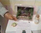 Pet set - frog aquarium, food, care sheet fits 18 inch dolls