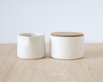 porcelain cream & sugar.