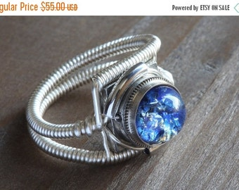 CYBER WEEK SALE - Steampunk Jewelry - Ring - Harlequin Blue Glass