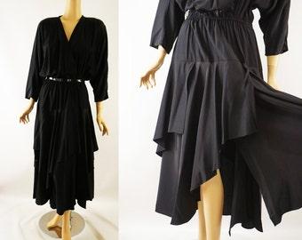 Vintage 1980s Party Dress Black Rayon 80s Does 40s Panel Handkerchief Skirt Sz 16