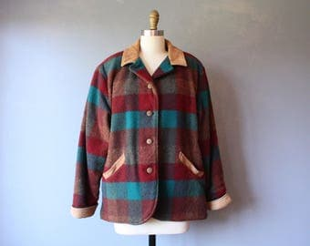 vintage LL Bean wool jacket / womens plaid hunting jacket / leather trim jacket