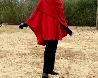 Cranberry Red  Anti Pill Fleece Cape, Wrap, Poncho, Blanket Scarf or Shawl--One Size Fits Most