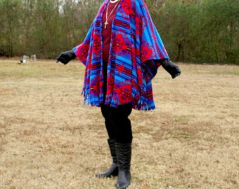 Southwestern Great Nation Royal Anti Pill Fleece Wrap, Poncho, Shawl or Serape with Fringe--Leightweight Warmth--One Size Fits Many
