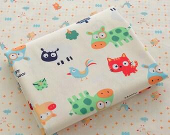 4335 - Animal & Bird Twill Cotton Fabric - 62 Inch (Width) x 1/2 Yard (Length)