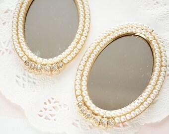 1 pc Princess Oval Mirror Gold Cabochon (56mm80mm) Pearl Edged AZ302