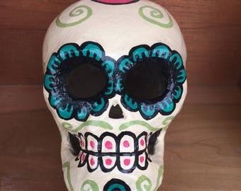 Dia de los Muertos Handpainted Skull