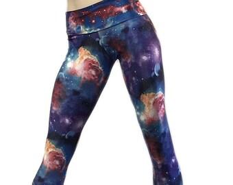 Blue Galaxy Yoga Pants Fold Over Waistband/ High Waisted Capri SXYfitness MADE IN USA