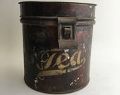 Vintage Hinged-Lid Tea Canister Tin