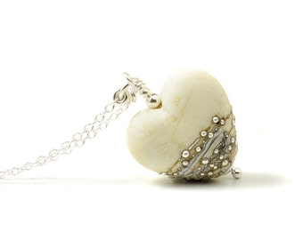Heart Necklace | Cream Glass Heart | Silvered Ivory Lampwork Necklace | Long Glass Heart Pendant Sterling Silver | UK
