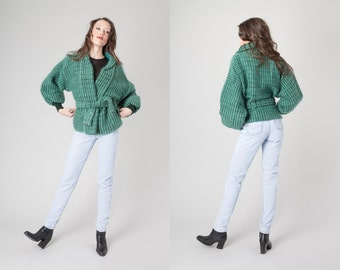 MOHAIR JACKET cardigan sweater Vintage women fall winter Aqua Teal green Pockets belted cropped / Small Medium / Better stay Together
