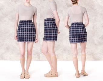 MINI skirt PLAID 90s purple vintage WOOL women clothing Small short blue / Size 5 / 27 waist / better Stay together
