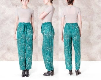 HIGH WAIST carole little FLORAL holiday pants Elastic Waist teal green Vintage colorful loose breezy / Small Medium