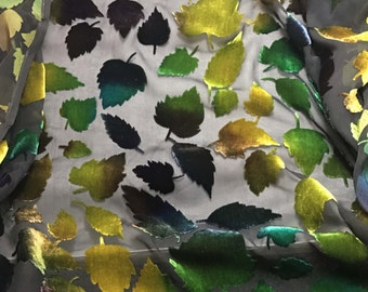 Multi Leaves - Burnout Silk Velvet Fabric - fat 1/4